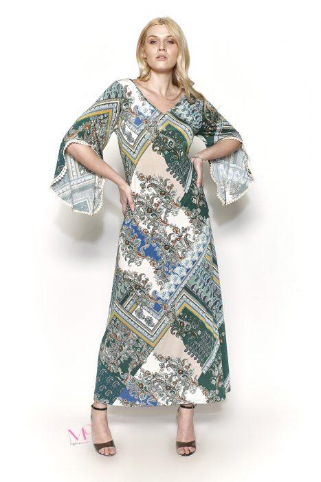 Κ19-20611 Πράσινο Φόρεμα maxi jersey, εμπριμέ, v-λαιμόκοψη και 3/4 μανίκια με διακοσμητικά pon pon.