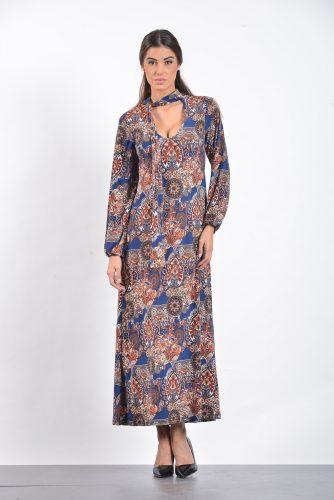 18-20522 Φόρεμα maxi σε jersey εμπριμέ ύφασμα