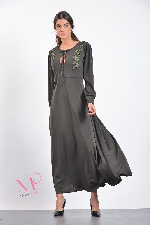 1250a5835ae Φόρεμα maxi άλφα γραμμή σε ρομαντικό στυλ από moss crep ύφασμα ...