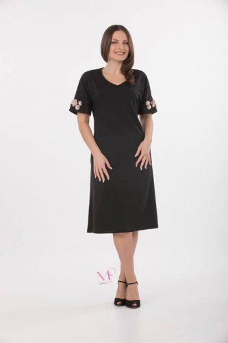 Κ18-20564 Φόρεμα midi scuba crep με V λαιμοκοψη, τσάπες και διακοσμητικές πέρλες και μοτίφ στα μανίκια