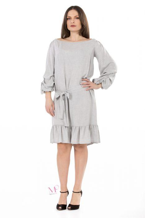 K18-20551 Φόρεμα midi σε voile ύφασμα. Έχει ελαστική λαιμόκοψη που γίνετε Of-Shoulder