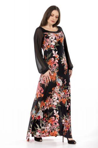 K18-20569 Φόρεμα maxi Floral σε s.jersey ύφασμα, Έχει τετράγωνη λαιμόκοψη και μακριά σιθρού μανίκια.