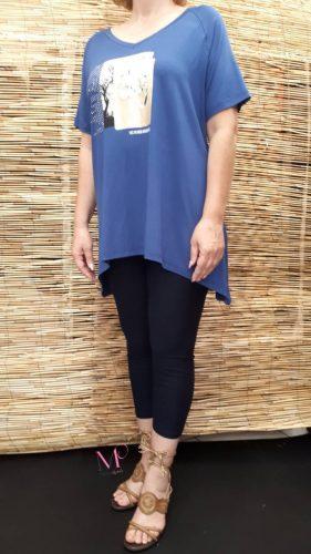 Κ18/15897 Μπλούζα ελαστική, με V λαιμόκοψη