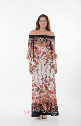 Κ18-20297 Φόρεμα maxi floral of-shoulder σε ίσια γραμμή από s.jersey ύφασμα