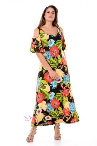 Κ18-20410-1 Φόρεμα maxi floral με ακάλυπτους ώμους.