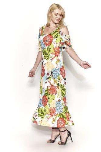 Κ18-20410 Φόρεμα maxi floral με ακάλυπτους ώμους.
