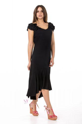 K18-20594 Φόρεμα midi ασύμμετρο από ύφασμα Φλάμα βισκόζ με V-λαιμόκοψη, βολάν στους ώμους και στο τελείωμα.