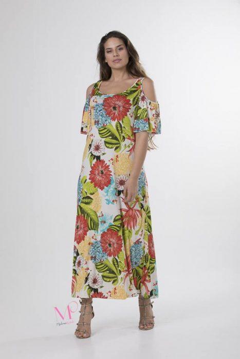 Κ18/20410 Φόρεμα maxi floral με ακάλυπτους ώμους.