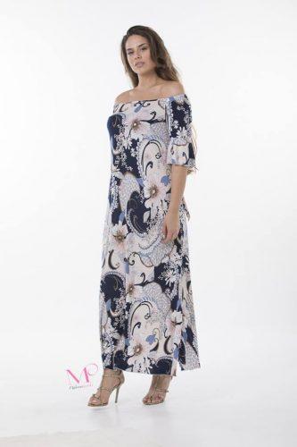 Κ18-20436/2 Φόρεμα maxi floral of-shoulder σε ίσια γραμμή από s.jersey ύφασμα.