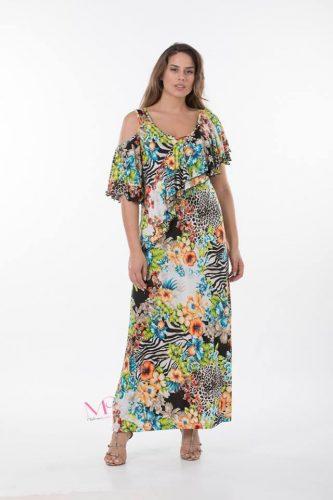K18-20410 3 Φόρεμα maxi floral με ακάλυπτους ώμους.