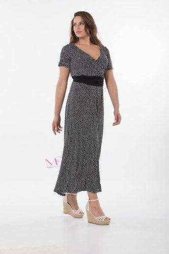 K18-20608 Φόρεμα maxi πουά jersey σε ίσια γραμμή