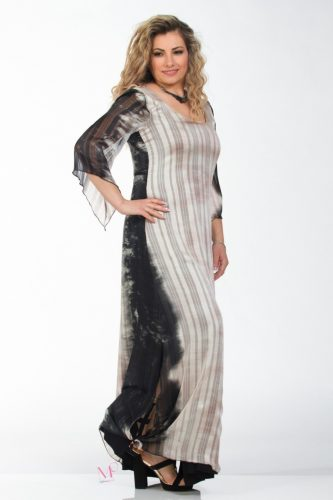 K18-60818 Φόρεμα καφτάνι, maxi μουσελίνα εμπριμέ