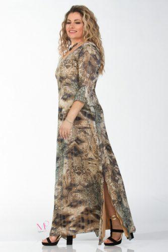 K18-61018 Φόρεμα καφτάνι, maxi μουσελίνα εμπριμέ΄΄Brown''