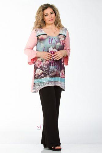 K18-90318 Μπλούζα με ψηφιακή εκτύπωση ροζ τριαντάφυλλα