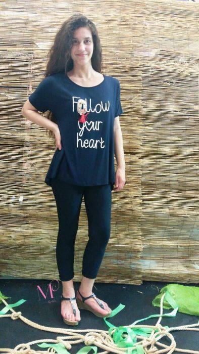 Κ18-15955 Μπλουζοφόρεμα '' Follow your heart ''