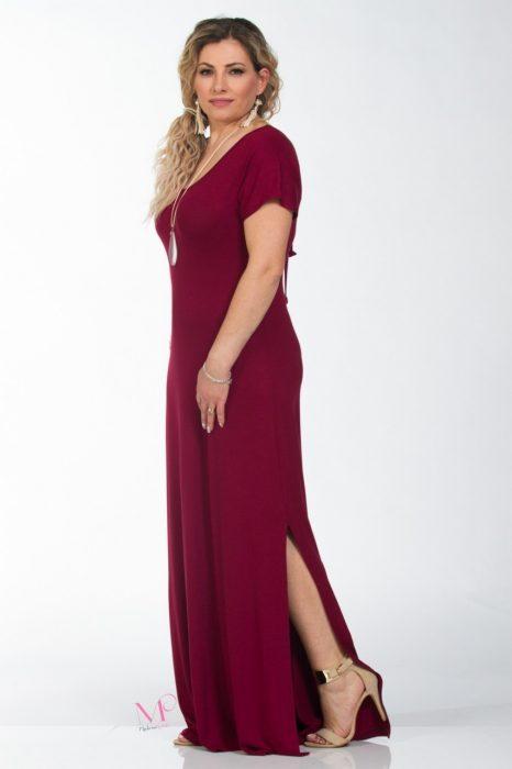 Κ18-614 Φόρεμα maxi με κολιέ και κοντό μανίκι