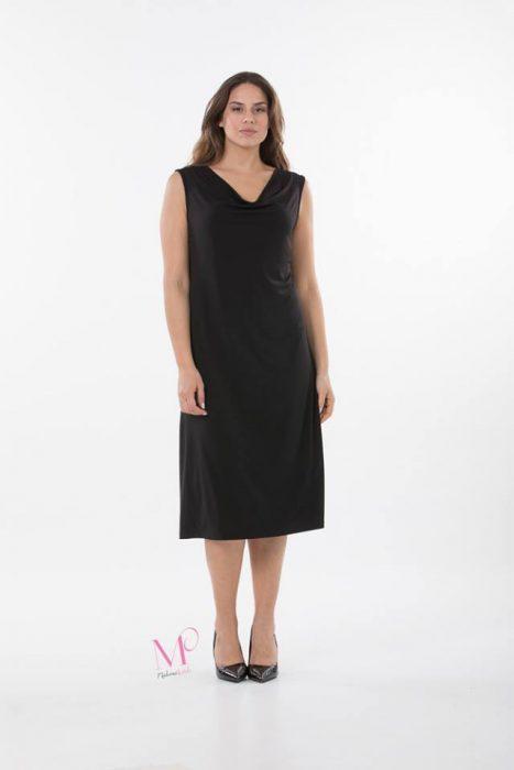 K18-20595 Φόρεμα μονόχρωμο midi σε s.jesrey που πέφτει σε ίσια γραμμή. Έχει ντραπέ μπούστο και είναι αμάνικο.