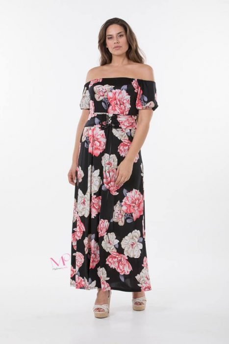 K18-20605 Φόρεμα maxi εμπριμέ σε floral of-shoulder από s.jersey ύφασμα.