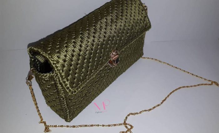502 Χειροποίητη πλεκτή τσάντα ώμου