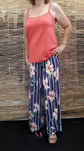 849545d1fc8e Κ18-3084 Παντελόνα ρίγα floral σε ίσια γραμμή από s.jersey