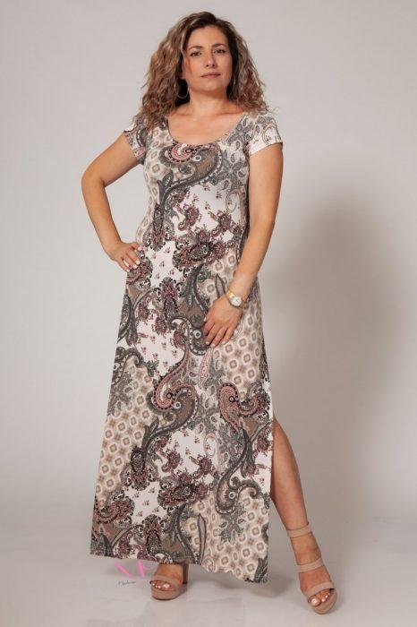 Κ18-635 Φόρεμα μαγιόπανο maxi Λαιμόκοψη.
