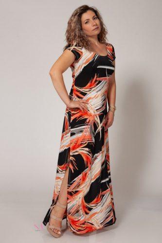 Κ18/63818 Κοραλί Φόρεμα μαγιόπανο maxi Λαιμόκοψη.