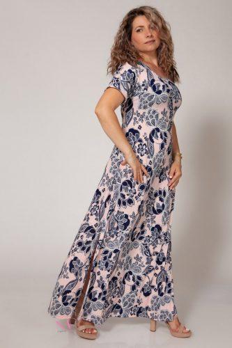 Κ18/64018 Ροζ Φόρεμα μαγιόπανο maxi Λαιμόκοψη.