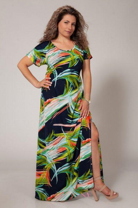 Κ18-642 Φόρεμα μαγιόπανο maxi Λαιμόκοψη.