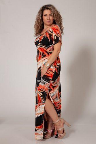 Κ18/64218 Κοραλί Φόρεμα μαγιόπανο maxi Λαιμόκοψη.