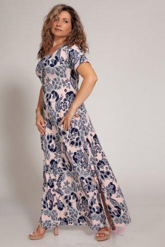 Κ18/64318 Ροζ Φόρεμα μαγιόπανο maxi Λαιμόκοψη.