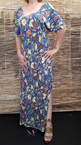 Κ18/64718 Μπλε Φόρεμα μαγιόπανο maxi με ακάλυπτους ώμους.