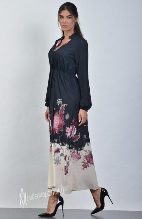 19-20510 Μαύρο-Εκρού Φόρεμα maxi άλφα γραμμή