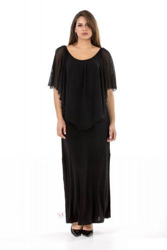 19-20313 Φόρεμα maxi σε s.jersey ύφασμα με ενσωματωμένη μπέρτα από ζορζέτα που καλύπτει τα χέρια.