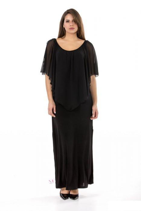 19-20313 Μαύρο Φόρεμα maxi σε s.jersey ύφασμα με ενσωματωμένη μπέρτα από ζορζέτα που καλύπτει τα χέρια. Με ανοίγματα στο πλάι