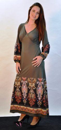 19-20511 Φόρεμα maxi Χακί σε άλφα γραμμή baroque