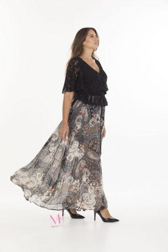 19-20633 Φόρεμα κρουαζέ maxi εμπριμέ σε συνδυασμό δαντέλας με μουσελίνα.