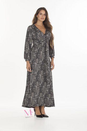 19-20636 Animal Γκρι Φόρεμα maxi σε s.jersey ύφασμα. Πέφτει σε άλφα γραμμή, έχει V-λαιμόκοψη και μακριά μανίκια.