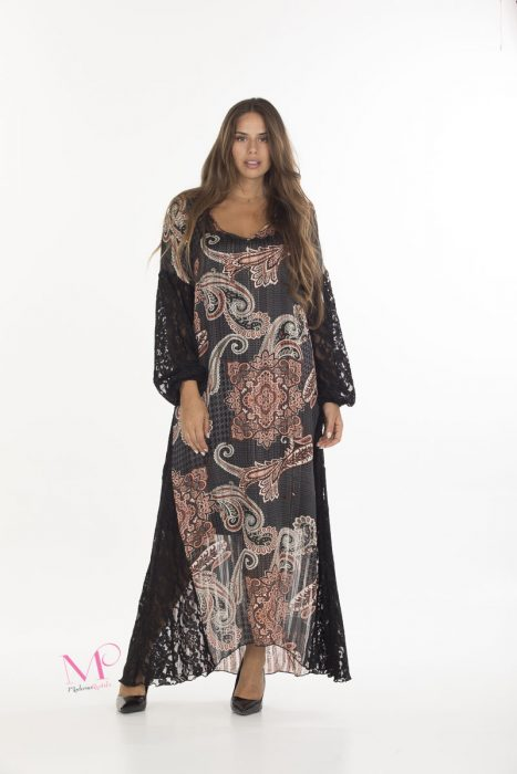 19-20637 Μαύρο/Σομόν Φόρεμα maxi σε συνδυασμό δαντέλα/ μουσελίνα με εσωτερικό Φορεματάκι. Πέφτει σε άλφα γραμμή και έχει V- λαιμόκοψη. Έχει μακριά μανίκια με δαντέλα . Mε ελαφρύ χρυσό λούρεξ