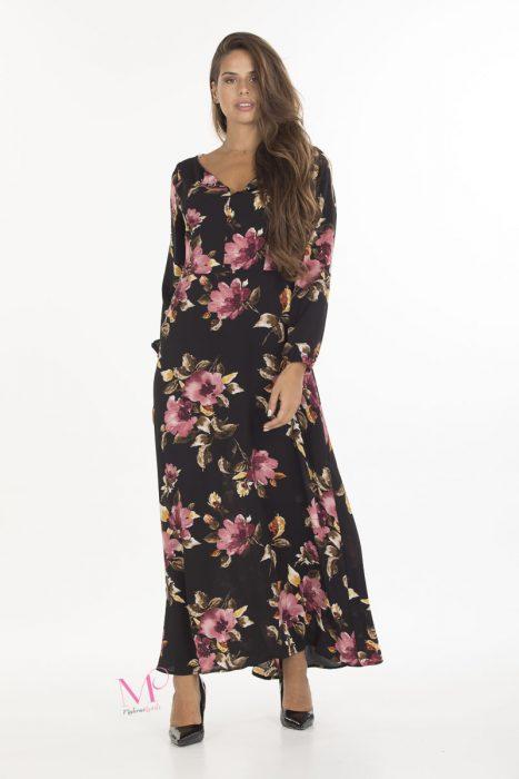19-20638 Φόρεμα maxi Μαύρο / Floral με V-λαιμόκοψη, μακρύ μανίκι και άλφα γραμμή.