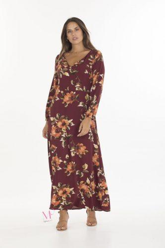 19-20638 Φόρεμα maxi Μπορντώ / Floral με V-λαιμόκοψη, μακρύ μανίκι και άλφα γραμμή.