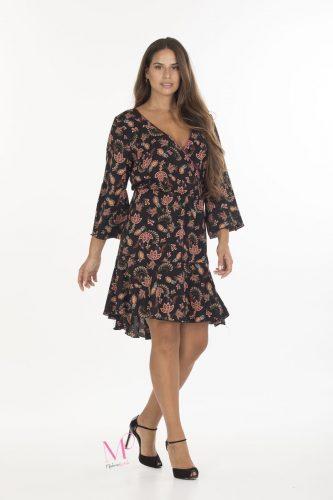 19-20641 Φόρεμα κρουαζέ midi σε bubble crep με λάστιχο κάτω από το μπούστο.