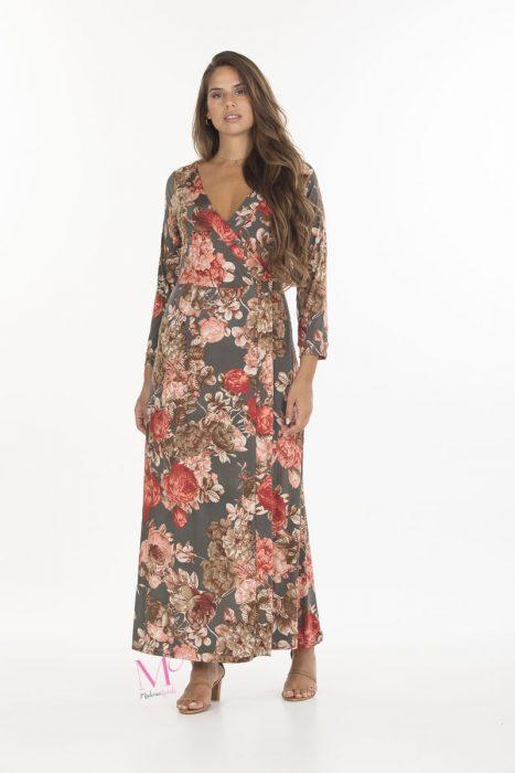 19-20642 Φόρεμα maxi εμπριμέ κρουαζέσε άλφα γραμμή με V-λαιμόκοψη