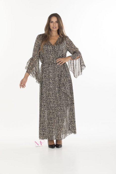 19-20643 Animal Print Φόρεμα maxi κρουαζέ σε μουσελίνα με εσωτερικό Φορεματάκι.