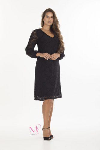 19-20647 Μαύρο Φόρεμα midi δαντέλα σε ίσια γραμμή με V-λαιμόκοψη και μακρύ μανίκι που γίνονται Μπαλούν