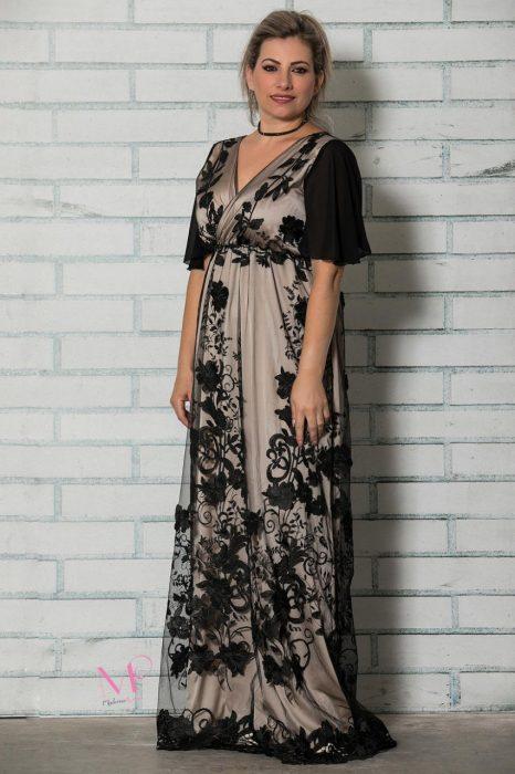 19-60519 Φόρεμα μάξι σατέν με δαντέλα