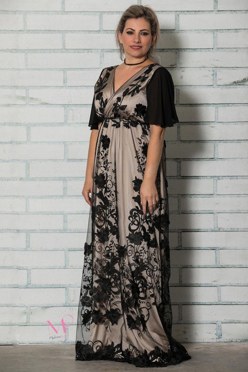 f0430ad5485b Φόρεμα μάξι σατέν με δαντέλα - Modernoraptiki