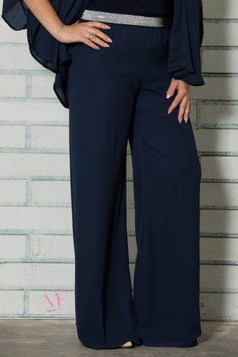 19-81719 Μπλε Σκούρο Παντελόνα με διπλή ζορζέτα
