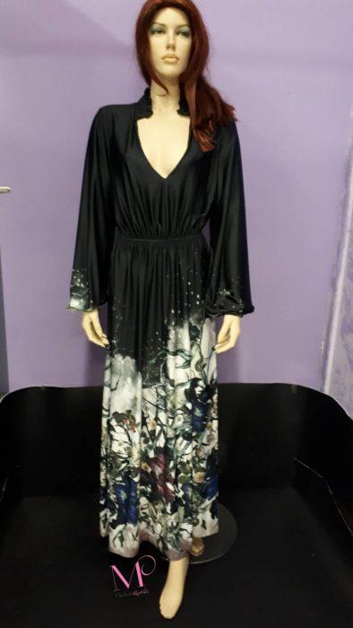 19-20510 Μαύρο-Λουλούδια Φόρεμα maxi άλφα γραμμή
