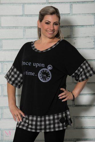 19-91019 Μπλουζοφόρεμα ρολόι με καρό τελειώματα