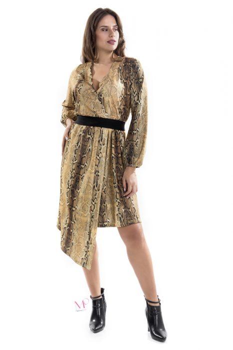19-20664 Φόρεμα midi ασύμμετρο σε animal print με κρουαζέ μπούστο